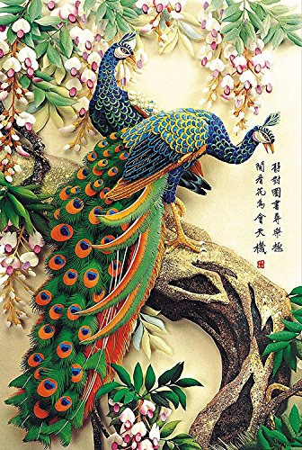 VICTORY-Jigsaw,Stained Art Jigsaw Puzzle Kids Adult Literate Jigsaw Puzzle 2000 Piece 29.941.7'' Wooden Colorful Peacock