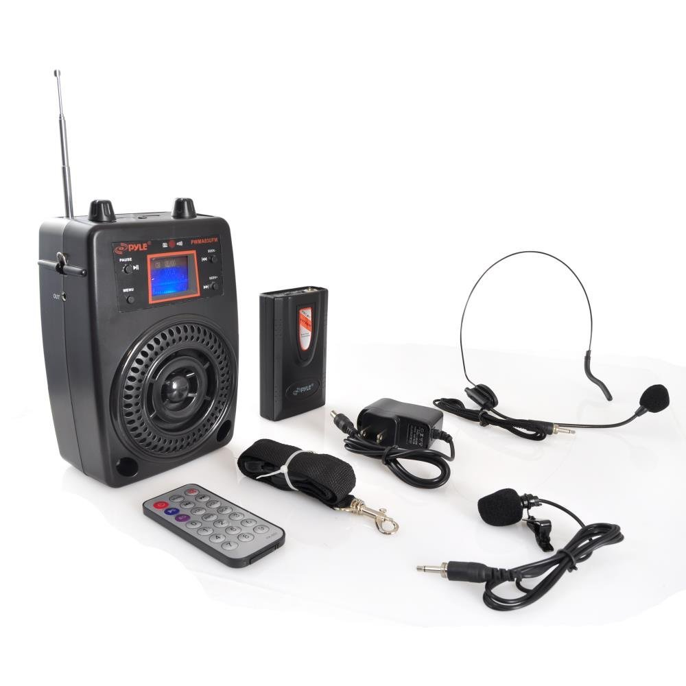 Pyle Portable PA System, Wireless Microphone Kit, Compact Stereo System, FM Radio, LCD Display, USB, Rechargeable Battery,  Includes Lavalier Microphone Headset, Outdoor Surround Sound (PWMA83UFM)