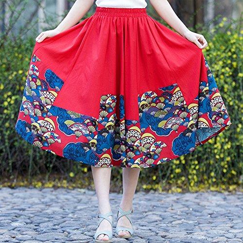 Rouge Jupe Femme de taille OCHENTA Line Bohemian Floral Tour A Elastique 1Pwwxvqp
