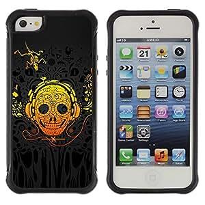 Suave TPU GEL Carcasa Funda Silicona Blando Estuche Caso de protección (para) Apple Iphone 5 / 5S / CECELL Phone case / / Skull Art Headphones Skeleton Lizzard Yellow /