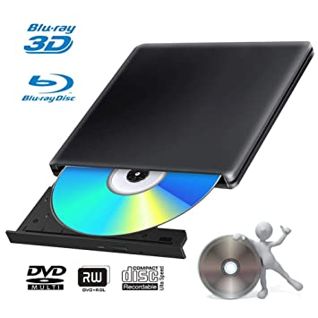 Blu Ray 4k Grabadora DVD Reproductor Externo Portatil USB 3.0 Grabadora de Quemador Regrabadora Lector de CD DVD Disco para Windows7/8/10,Linux,Mac ...