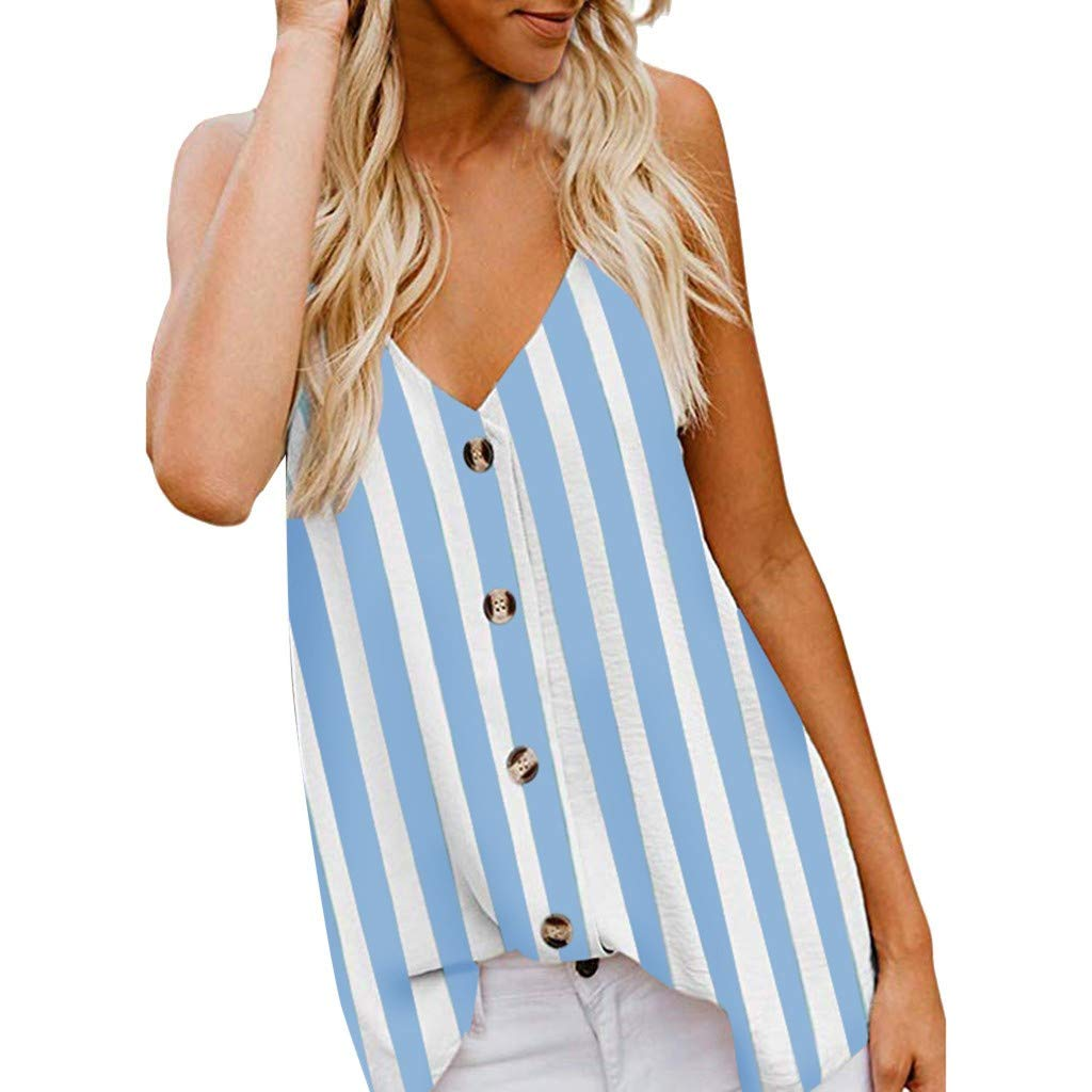 CofeeMO Women's V Neck Stripe Printed Sexy Summer Camis Tops,Casual Low Cut Button Sleeveless Shirts(Blue,XL)
