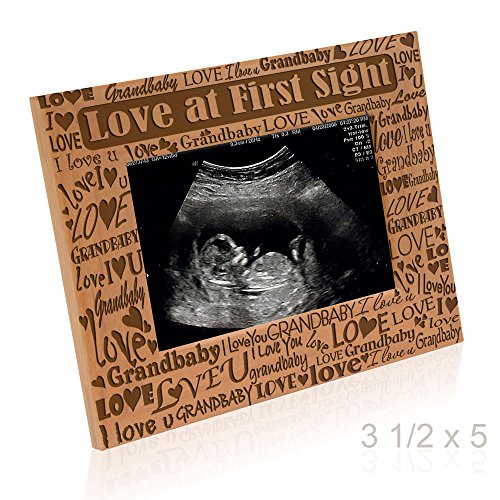 - Kate Posh - Love at First Sight - I Love You Grandbaby - Baby Sonogram Photo Frame - Engraved Natural Wood Picture Frame (3 1/2 x 5 Horizontal)