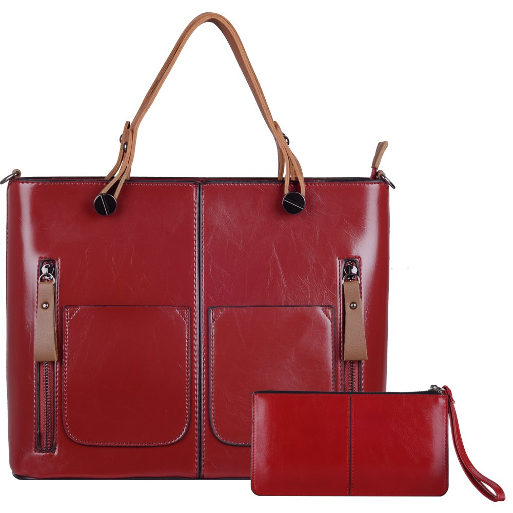 Top Handle Satchel Handbags LORDWEY Women Retro Tote Bags Leather Crossbody Bags Large Capacity and Purse (red)