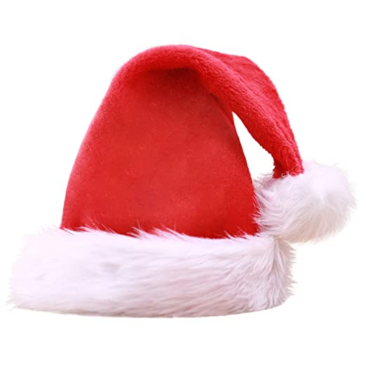 052cff574130d Amazon.com  AOFITEE Deluxe Red Santa Hat with Plush Trim Christmas Costume  Accessory  Clothing