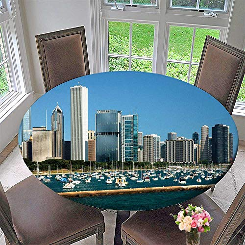 (PINAFORE HOME Round Table Tablecloth Chicago is The Largest City in The u s State of Illinois for Wedding Restaurant Party 47.5
