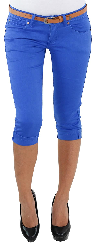 Damen Stretch Capri Kurze 3//4 Jeans Hose mit Gürtel Shorts Bemuda Hüft Sommer