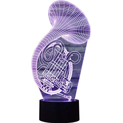 Jiahai 3D Illusion French Horn Shaped Soft Multi-Colored Change LED Table Desk Night Light
