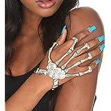 Misscat Fashion Women Hand Chain Skull Fingers Metal Skeleton Slave Bracelet Ring