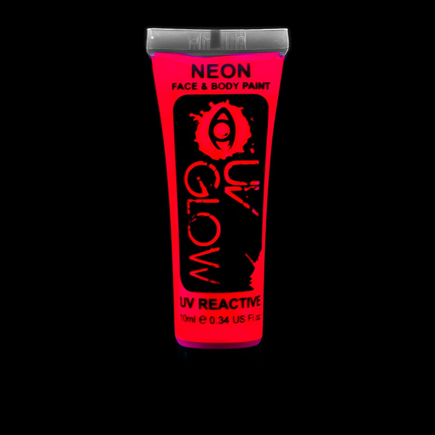 UV Glow Neon Face and Body Paint - 1x 10ml Red