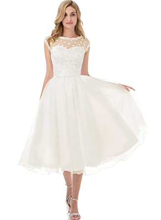 APXPF Women\'s Vintage 1950s Style Polka Dotted Little Wedding Dress ...