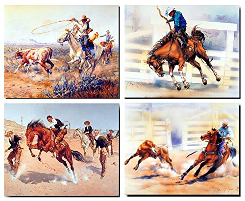 Western Wall Decor Rodeo Cowboy Horse Animal 16x20 Four Set Art Print Poster (16x20)