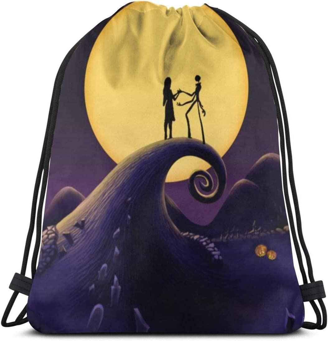 Drawstring Backpack Halloween Town Nightmare Before Christmas Bag Water Resistant Lightweight Gym Sackpack For Hiking Yoga Gym Swimming Travel Beach