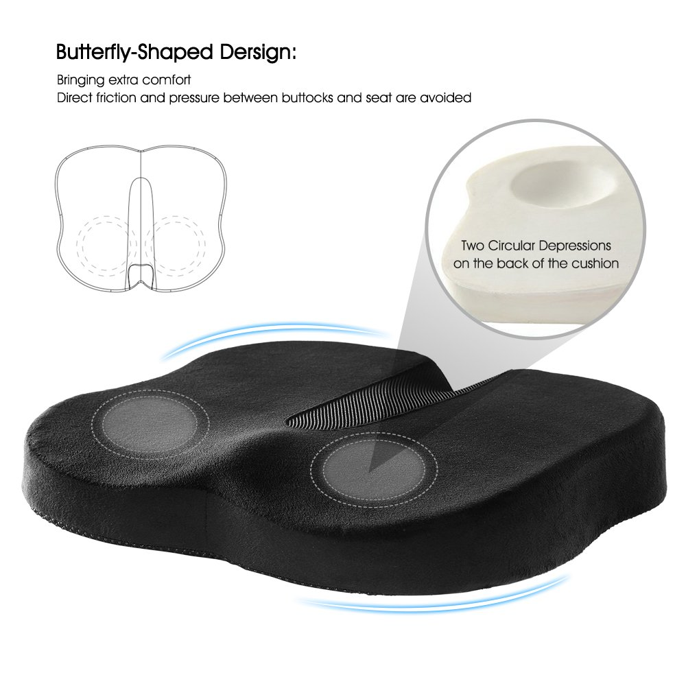 Coccyx and Sciatica with Black Washable /& Breathable Cover NURSAL Memory Foam Orthopedic Seat Cushion Butterfly-Shaped Design for Pain Relief of Lower Back