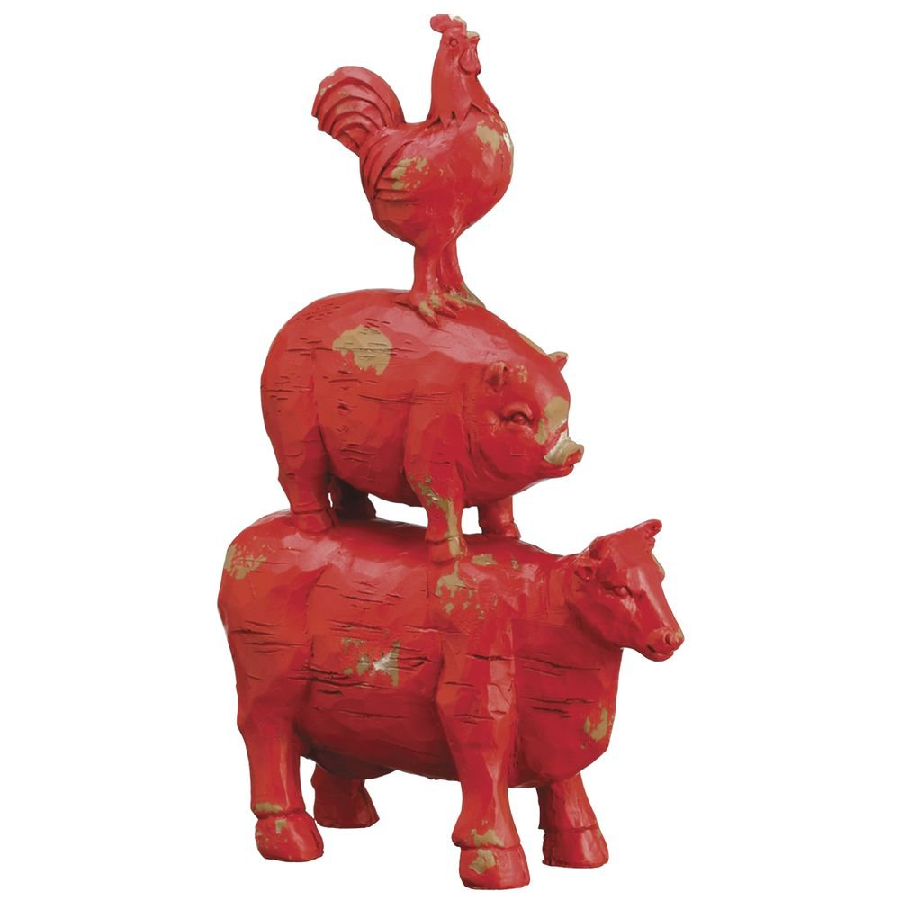Red Plastic Stacked Farm Animals - 13 3/4 H