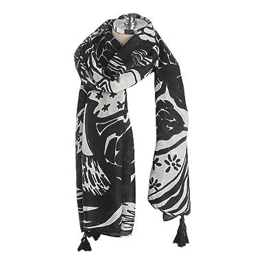 détaillant en ligne meilleur site profiter du prix le plus bas TOPSTORE01 Écharpe Châle Noir et Blanc Foulard Chaud Étole Chic Femme Hiver