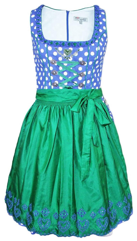 Lekra Dirndl Irina - Blau Grün 55cm - Zauberhaftes Kleid mit Punkten für Damen