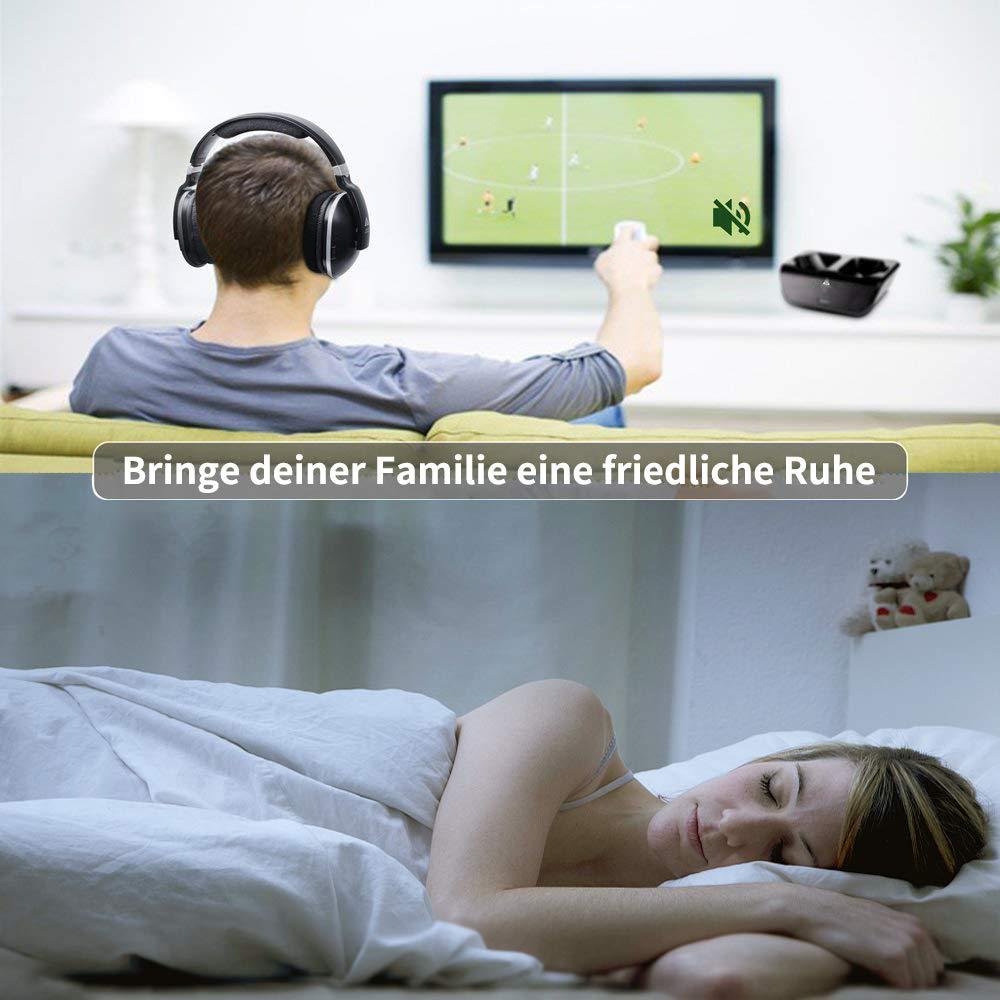 TV-Funkkopfhörer mit Ladestation Digital-Stereo-Headsets 2,4-GHz-RF Over-Ear Kopfhörer Sender 30m Reichweite Keine Latenzzeit von 20 Stunden Akkustand, für Gaming TV PC Mobile - Schwarz