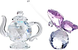 H&D HYALINE & DORA Set Crystal Teapot with Crystal Butterfly Figurine Gift,Home Collection Decor Paperweight