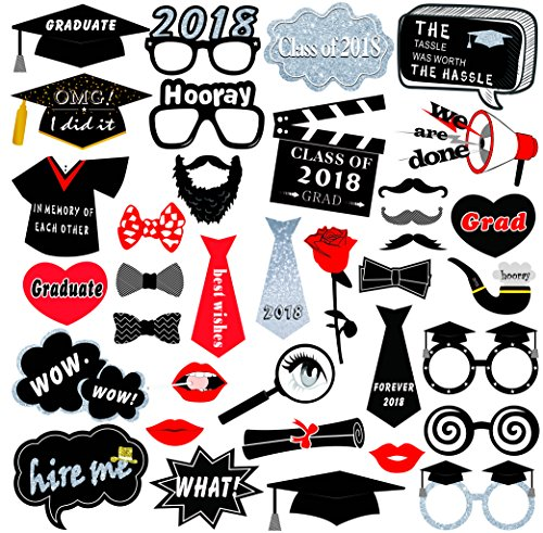 Kuuqa Graduation Party Photo Booth Props 2018 Graduation Party Decorations, Pack of 36 -