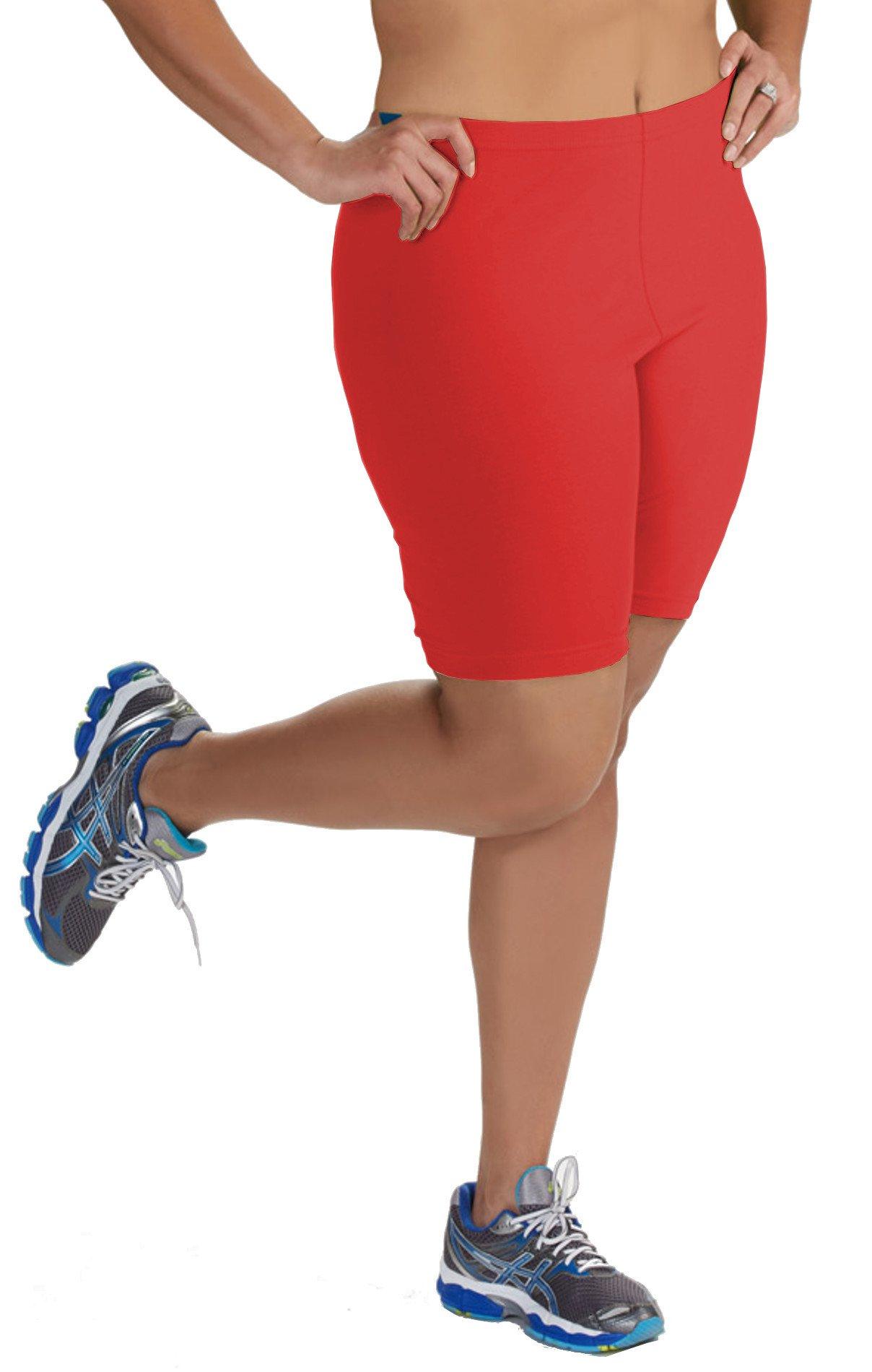 Popular Women's Plus Size Cotton Bike Shorts - Red - 2X