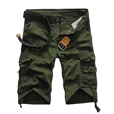 Pantalones Cortos De Trabajo Nero para Color con Hombre Botones De ...