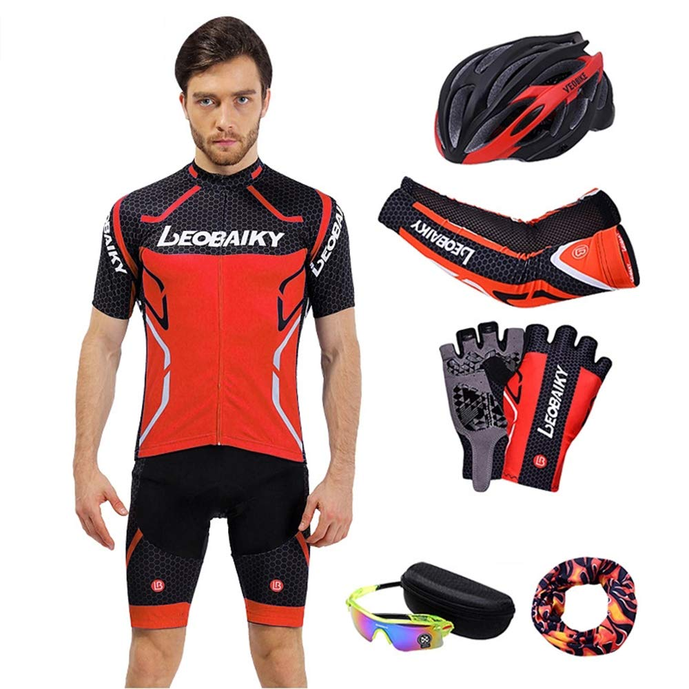 rouge XXL GNAXY Ensemble de Cyclisme,Maillot,Pantalon,Gant,Foulard,Manche,des Lunettes,Chapeau