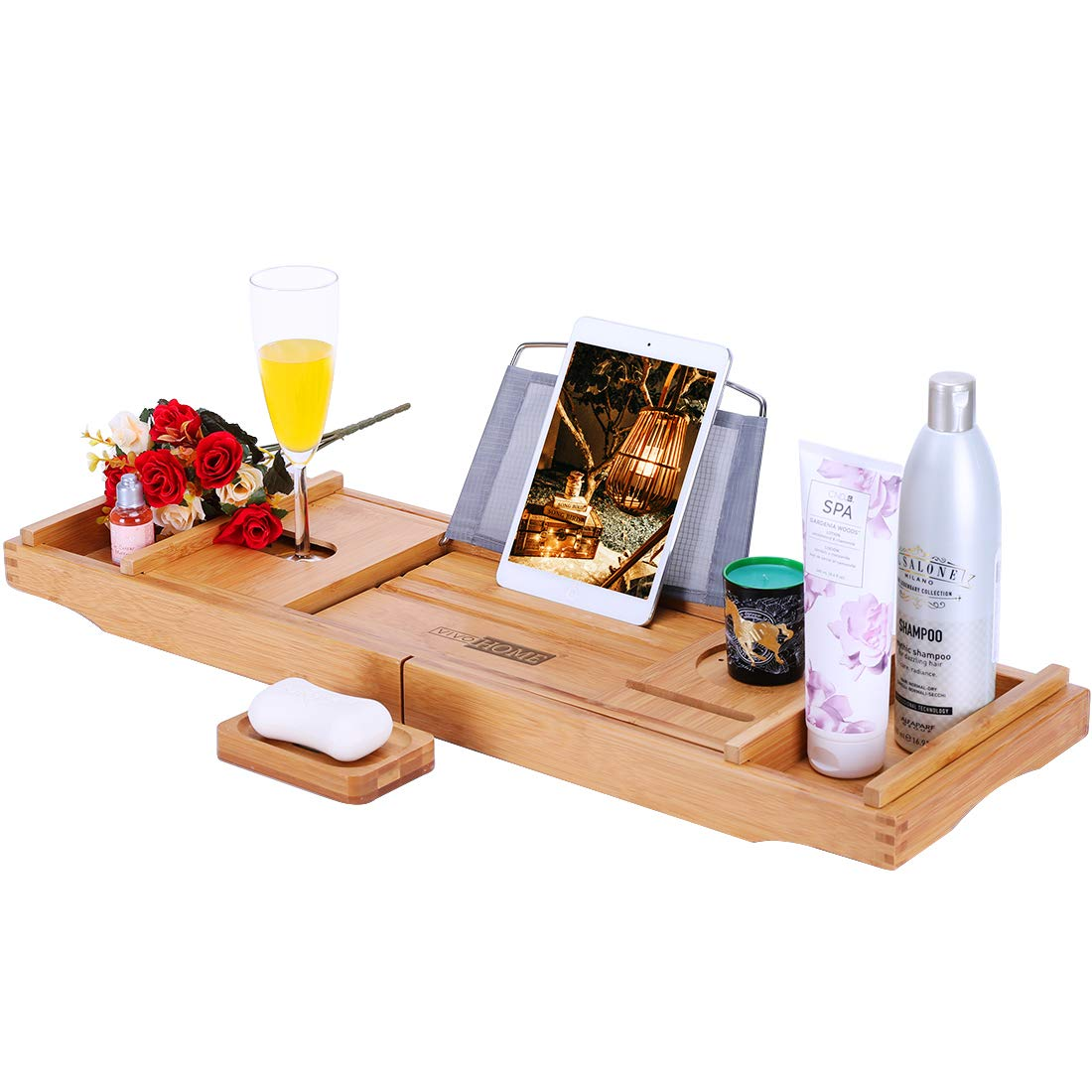 VIVOHOME Expendable Bamboo Bathtub Caddy Tray Bath Accessories with Cellphone Tablet and Wine Book Holder