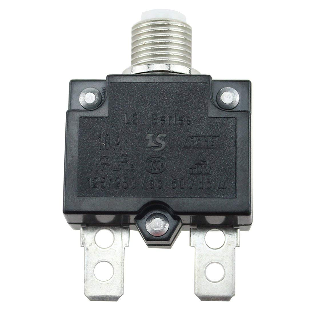 Baynne 5A//10A//15A//20A//30A Circuit Breaker Waterproof Push Button Resettable Thermal Fuse Circuit Breaker Panel Mount