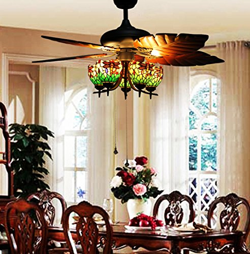 Makenier-Vintage-Tiffany-Style-Stained-Glass-5-light-Dragonfly-Uplight-Lampshade-Ceiling-Fan-Light-Kit-with-Banana-Leaf-Shaped-Blades