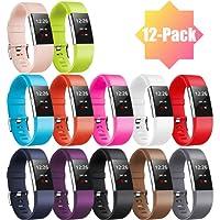 """Zekapu pour Fitbit Charge 2 Bracelet, Charge 2 Sport Remplacement Bracelet avec Boucle en Acier Inoxydable Classique pour Fitbit Charge2, Grand (6.7""""- 8.1) Petit (5.5""""- 6.7"""") 16 Couleurs"""