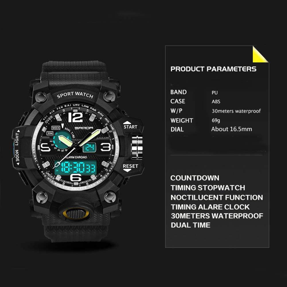Men's Military Watch, Dual-Display Waterproof Sports Digital Watch Big Wrist for Men with Alarm (Black) by WISHFAN (Image #5)