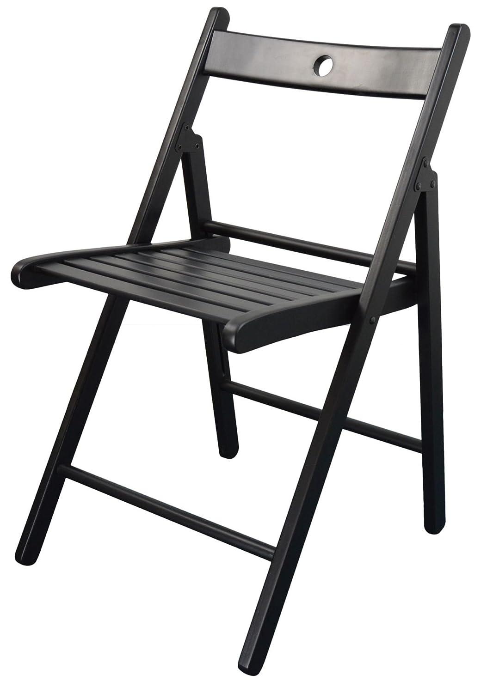 Harbour Housewares Wooden Folding Chair - Black Wood Colour…