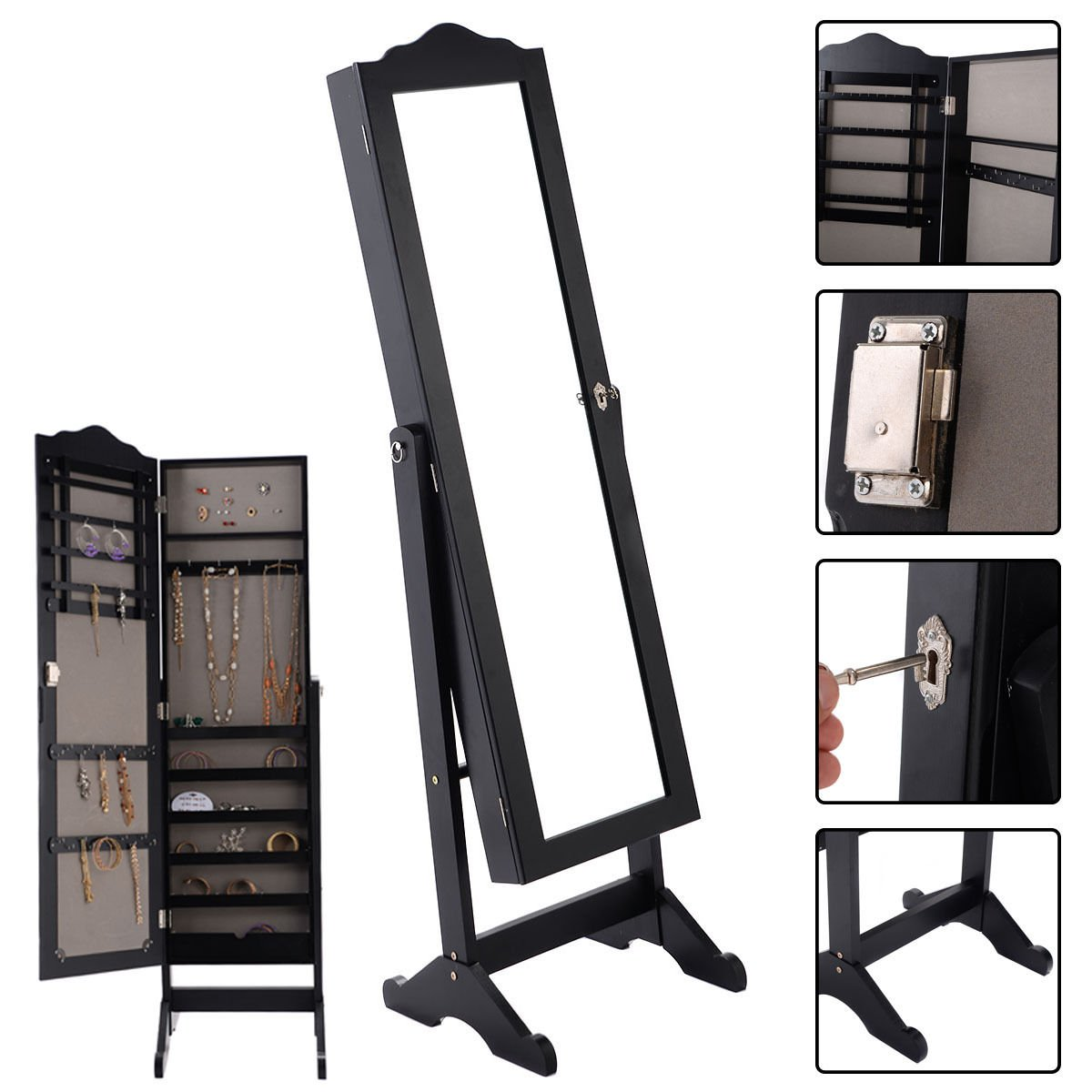 Eight24hours Lockable Mirrored Jewelry Cabinet Armoire Mirror Organizer Storage Box w/ Stand