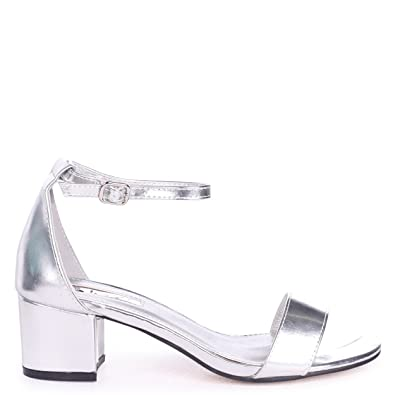 99b91579ebf Linzi Sandy - Silver Metallic Barely There Block Heeled Sandal ...
