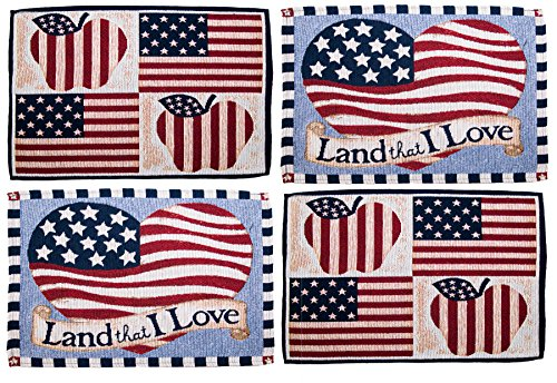 American Flag Inspired Placemats - Set of 4 - (Red White Blue Decorating Ideas)