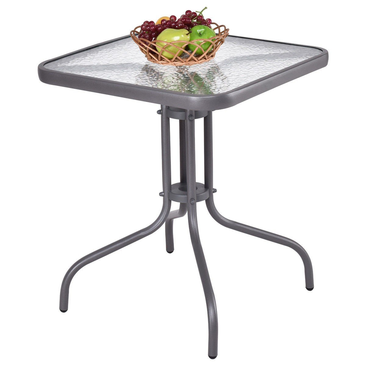 Custpromo 24'' Outdoor Dining Square Table Patio Bistro Table Tempered Glass Top Gray Steel Frame Garden Backyard Furniture
