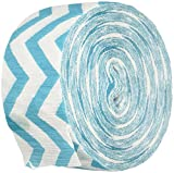 Amscan Perfect Chevron Printed Crepe Streamerss Childrens Party Streamers (12 Piece), Caribbean Blue, 81'