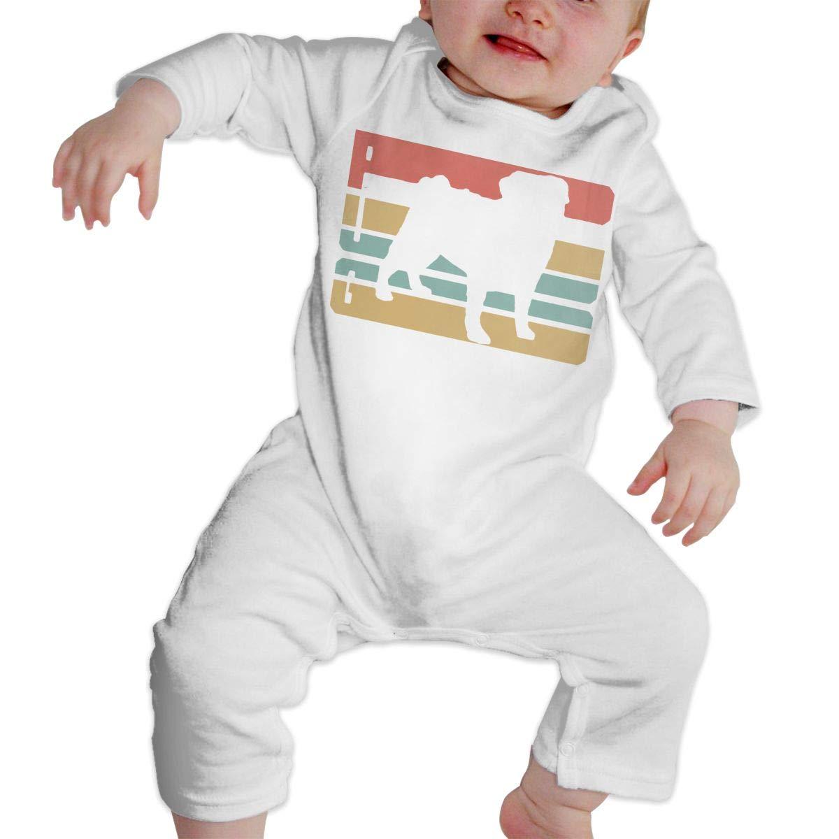Newborn Infant Baby Girls Boys Romper Jumpsuit Vintage Pug Vector Cotton Long Sleeve Infant Clothing