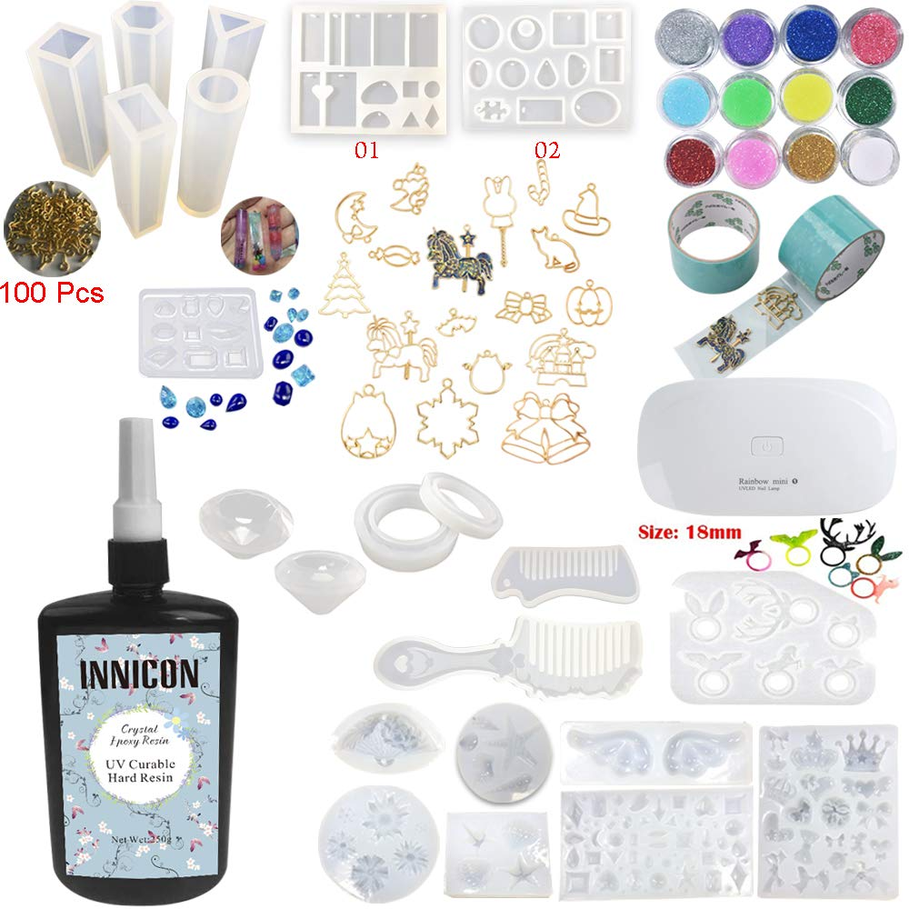 INNICON 250g Resin Casting Molds Kit 22 Silicone Resin Snowflake Comb Angel Wings Crown Molds 12 Glitter Sequins 14x Open Back Bezels Traceless Tape with Lamp For DIY Charms Necklaces Earrings Making by INNICON (Image #1)