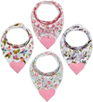 Pickle & Olive Baby/Toddler Floral Girl Bandana Teething Bibs With Attached BPA-Free Silicone Teether Toy Corner, Set Of 4, W
