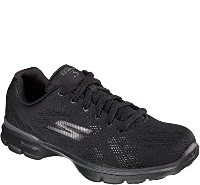 Womens Skechers GO Walk 3 - Pulse, Black/Black, 10 B