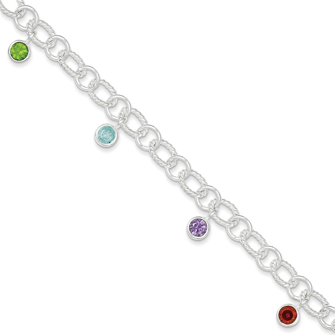 ICE CARATS 925 Sterling Silver Imitation Stone Link Bracelet Charm Tennis Add-a- Jacket Fine Jewelry Gift Set For Women Heart