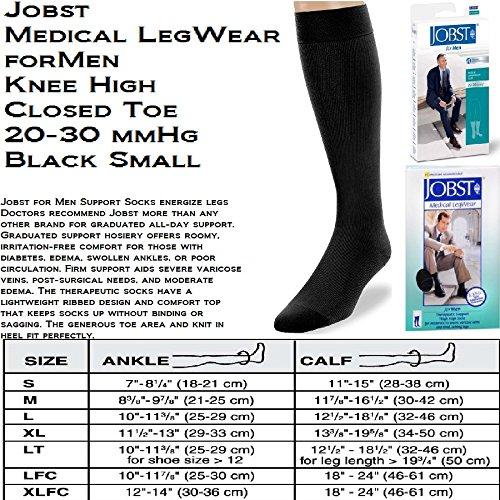BI115088 - Bsn Jobst Mens Knee-High Ribbed Compression Socks Small, Black