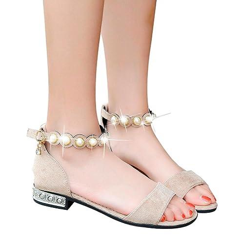 20a64e358b3e Women Fashion Crystal Sandals Rome Style Pearl Low Heel Peep Toe  Amazon.ca   Clothing   Accessories