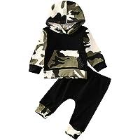 BHYDRY 2 Unids NiñIto Infantil Bebé Chico Ropa Trajes Camuflaje Tops con Capucha + Pantalones Conjuntos