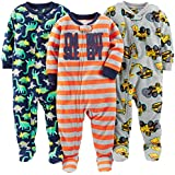 Simple Joys by Carter's Baby Boys' Toddler 3-Pack Loose Fit Flame Resistant Fleece Footed Pajamas, Red Stripe/Diggers/Dino, 2T