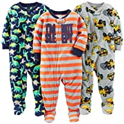 Simple Joys by Carter's Baby Boys' 3-Pack Loose Fit Flame Resistant Fleece Footed Pajamas, Red Stripe/Diggers/Dino, 24 Months