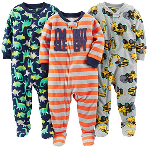 (Simple Joys by Carter's Baby Boys' 3-Pack Loose Fit Flame Resistant Fleece Footed Pajamas, Red Stripe/Diggers/Dino, 12 Months)