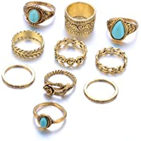 Niome 10Pcs/Set Vintage Turquoise Geometric Rings Flower Carved Knuckle Finger Ring Women Jewelry Set